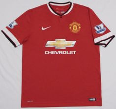 Mens-Nike-MANCHESTER-UNITED-Jersey-LARGE-Red-Soccer-BARCLAYS-Futball-Chevrolet