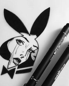 ไม่มีคำอธิบายรูปภาพ Dark Tattoo, Tattoo On, Body Art Tattoos, Playboy Bunny Tattoo, Bunny Tattoos, Art Drawings Sketches, Tattoo Drawings, Cool Drawings, New Traditional Tattoo