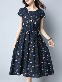 Clearance,Blue,Polyester,Short Sleeve,Casual,A-line,Floral,Printed,Crew Neck,Spring/Fall,Summer,18~24,25~34,35~44,Daytime,Going out,Daily,Midi