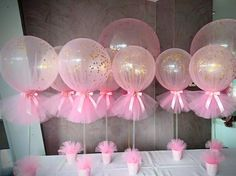 Easy to make DIY baby shower balloon centerpieces. Make it and your Baby Shower guest will sure be impressed by your creativity and eagerness to create great decoration for your child Baby Shower ❤ Baby Party, Baby Shower Parties, Baby Shower Themes, Babyshower Party, Tutu Party, Christening Balloons, Baby Girl Christening, Girl Christening Decorations, Tulle Balloons