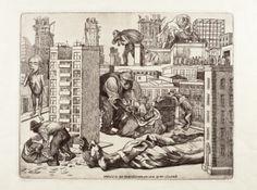 Alfredo Zalce. México se transforma en una gran ciudad. 1947. Buril 30.7 X 39.3 cm
