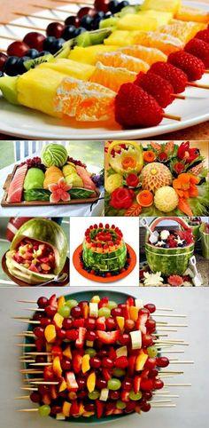 El corte original de frutas y la formalización en la mesa de fiesta Deco Fruit, Veggie Display, Birthday Party Snacks, Fruit Displays, Edible Arrangements, Buffets, Food Platters, Food Humor, Appetisers