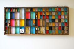 Rainbow letter press tray display