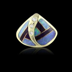 4af8f3bde09 Gent s yellow gold ring artfully designed with inlay of onyx and opal  displaying blue   green play-of-color. 66mint - Fine Estate Jewelry