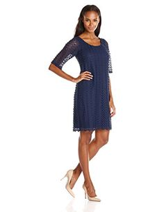 cb3181b519f Tiana B Women s Lace Shift Dress with Elbow Sleeves