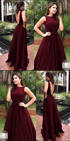 Elegant O-Neck Backless Burgundy Prom Dresses,Long Prom Dresses,Cheap Prom Dresses, Evening Dress Prom Gowns, Formal Women Dress,Prom Dress