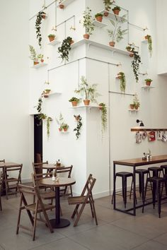 Indoors or Out: Tips for Creating a Vertical Garden - Parwaneh Mirassan - Indoors or Out: Tips for Creating a Vertical Garden Wall with greens - Coole Wanddeko. Mehrere Grünpflanzen wurden an der Wand platziert und miteinander verbunden. Restaurant Amsterdam, Deco Restaurant, Terrace Restaurant, Healthy Restaurant Design, Amsterdam Cafe, Amsterdam Travel, Deco Design, Cafe Design, House Design