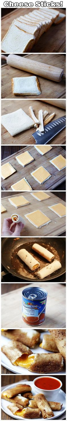 Grilled Cheese Rolls - {{ I don't think I've ever seen a better idea for a grilled cheese than this. I love mozzarella sticks, grilled cheese sticks are perfect! I Love Food, Good Food, Yummy Food, Awesome Food, Yummy Recipes, Top Recipes, Healthy Recipes, Fun Food, Amazing Recipes