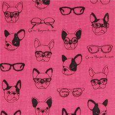 dark pink double gauze dog animal glasses Kokka fabric 1
