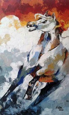 Artist Sajida Hussain Abstract horse painting, oil on canvas. Abstract Horse Painting, Oil Painting On Canvas, Abstract Art, Handmade Products, Palette Knife, Horse Art, Wild Horses, Art Oil, Figurative Art