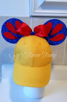 Snow White Mickey Ears Hat | Snow White Yellow Baseball Cap | Red Bow Blue Sparkly Ears by GigisFlowerFancy on Etsy