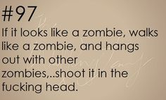Survival Tip: If it looks like a zombie, walks like a zombie, and hagns out with other zombies …shoot it in the head!  zombieapocalypsesurvivaltips:      Zombie apocalypse survival tip #97
