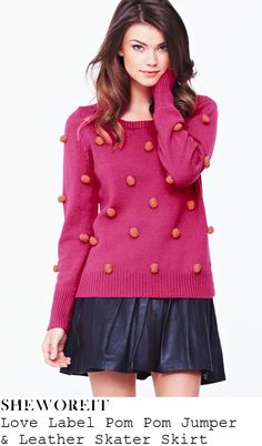 Ella Henderson's Love Label Candy Pink & Orange Contrast Pom Pom Cropped Knitted Jumper With Ribbed Detail To Cuffs &...
