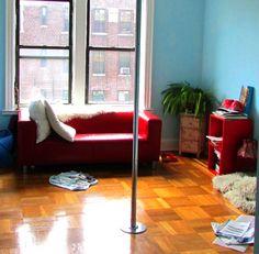 Peekaboo Pointe's home pole dance studio #poledance #newyorkcity #peekaboopointe