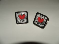 Keith Haring 'Heart' Cufflinks by mixedupdolly on Etsy, £7.99