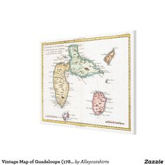 Vintage Map of Guadeloupe (1780) Canvas Print