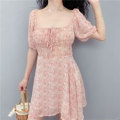 Floral square collar puff sleeves with a skirt · FE CLOTHING · Online Store Powered by Storenvy Online Clothing Stores, Vintage Looks, Puff Sleeves, Korean Fashion, Dress Outfits, Cold Shoulder Dress, Short Sleeve Dresses, Style Inspiration, My Style