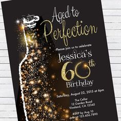 Aged to Perfection Invitation Template Unique Birthday Invitation Aged to Perfection Black and Gold 60th Birthday Ideas For Women, 60th Birthday Party Decorations, 60th Birthday Party Invitations, 60 Birthday Party Ideas, Retirement Invitations, Birthday Banners, Surprise 30th Birthday, 30th Birthday Parties, Mom Birthday