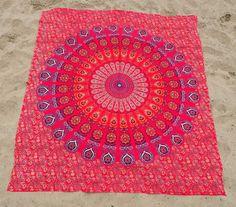 Aziatische Wandkleden Mandala - Rood/Oranje - 220*200cm -