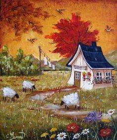 Le parfum des fleurs 12X10 Stone Painting, House Painting, Sheep Art, Cottage Art, Acrylic Artwork, Mini Canvas Art, Naive Art, Beautiful Paintings, Z Arts
