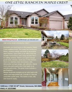 Real Estate for Sale at $399,000! Come and view this three Bedroom, two Bath, 2035 square foot desirable one level Maplecrest ranch style home on .15 acre lot located at 17409 NE 30th Street, Vancouver, Washington 98682 in Clark County area 26 which is the East Orchards area in Clark County. The RMLS number is 16225980. It has one gas burning fireplace and is not considered to be a view home. It was built in 2002 and the local high school is Evergreen High. The annual taxes due are…