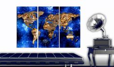 'Golden Continents' Graphic Art Print Multi-Piece Image on Wood East Urban Home Size: H x W Painting Frames, Painting Prints, Art Prints, Frames On Wall, Framed Wall Art, Cork Map, Canvas Art, Canvas Prints, Art Graphique