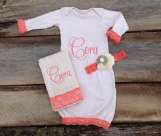 Baby Girl Monogrammed Tea Stained Gown, Burp Cloth & Headband Set Bundle, Newborn Coming Home Outfit, Baby Girl Monogrammed Shower Gift