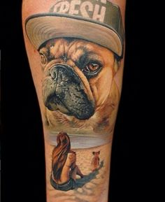 Top French Bulldog Tattoos of All-Time Cat And Dog Tattoo, Tattoos For Dog Lovers, Dog Tattoos, Animal Tattoos, Sleeve Tattoos, Tatoos, Wrist Tattoos, Tattoo Bulldog, Pitbull Tattoo