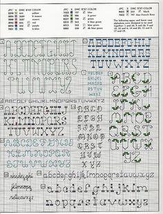 Cross-stitch 20 Backstitch Alphabet, part 3.. with the color chart... Solo Patrones Punto Cruz | Aprender manualidades es facilisimo.com