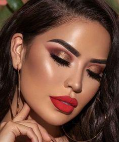 Make Up; Make Up Looks; Make Up Augen; Make Up Prom;Make Up Face; Smokey Eye Makeup Look, Red Lip Makeup, Glam Makeup, Makeup Inspo, Makeup Inspiration, Makeup Ideas, Makeup For Red Dress, Makeup Geek, Makeup Tutorials