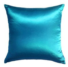 Creative Colorful Shiny Satin Euro Shams / Pillow Covers 26 by 26 - Turquoise:Amazon:Home & Kitchen