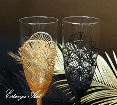 Hand painted wedding flutes, Art Deco Gatsby 1920s, gold and black lace flutes, champagne, anniversary gift couple, christmas gift, set of 2