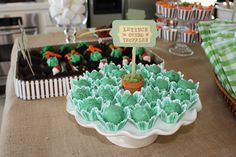 Orero truffles that look like lettuce for Cate's Peter Rabbit party