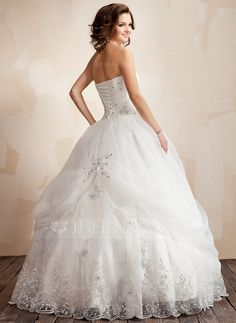 Ball-Gown Strapless Floor-Length Organza Satin Wedding Dress With Ruffle Lace Beading Flower(s) (002021817) - JJsHouse