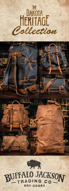 Crafted of waxed canvas and full grain leather with a distressed vintage finish, these bags were built to honor the memory of good men and good days. vintage military duffle backpack | vintage military rucksack | vintage military messenger bag