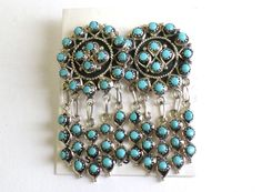 Old Pawn Zuni Turquoise Sterling Silver Earrings - D L -8.9g NO RESERVE