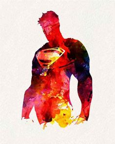 Superhero Poster - Superman _ Watercolor Painting Wall Art Wall Decor Art Home… Comic Kunst, Comic Art, Comic Books, Supergirl, Superman Art, Superman Tattoos, Batman, Superhero Poster, Superhero Superhero