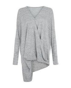 Cameo Rose Grey Long Sleeve Wrap Top | New Look