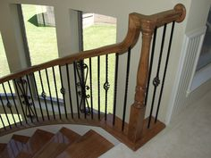 This staircase design was created using Twist series balusters. The single twist baluster (16.1.1), the single basket double twist (16.1.3), and the spiraled heart scroll baluster (16.1.41) are paired to create a uniquely designed staircase. These components are available in a Satin Black (shown), Copper Vein, Oil Rubbed Bronze, and Oil Rubbed Copper powder-coated finish. We offer parts, install services, and custom components throughout Texas. Click the image for more information.