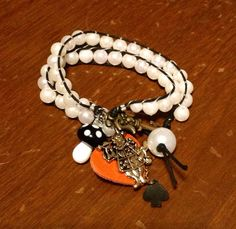 Black and white pear hemp Alice in wonderland wrap bracelet on Etsy, $13.00