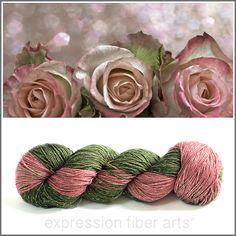 Expression Fiber Arts - FAIRY ROSE GARDEN SPARKLE SILK FINGERING, $35.00 (http://www.expressionfiberarts.com/products/fairy-rose-garden-sparkle-silk-fingering.html)