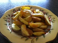 Crispy No-Fat Potato Fries - we've enjoyed this recipe (original is in The McDougall Quick & Easy cookbook) for years, creating new ways to enjoy them even more. Use russets for best results, & toss the wedges with no-oil oil (http://fatfreevegan.com/dressings/no-oil.shtml) to make them even crispier. We make 1/2 batch w/just salt, the other half w/salt & cajun seasoning, so spice them up to suit your tastes! Enjoy plain or with organic ketchup, malt vinegar, or vegan sour cream. YUM!