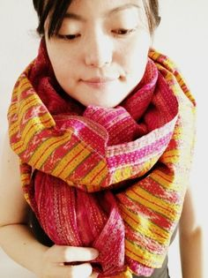 Acid yellow and shocking pink in candy stripes.   upcycled vintage sari scarf from www.wanderingsilk.org