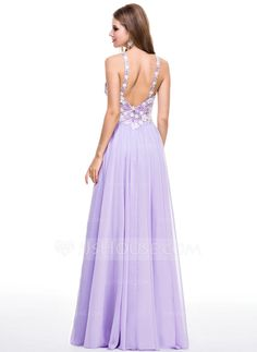 A-Line/Princess Sweetheart Floor-Length Chiffon Prom Dress With Lace Beading Sequins (018056800)