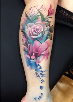 Watercolor leg tattoo by Lianne Moule, beautiful!!