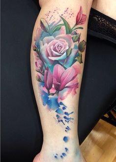 Watercolor leg tattoo by Lianne Moule, beautiful!!