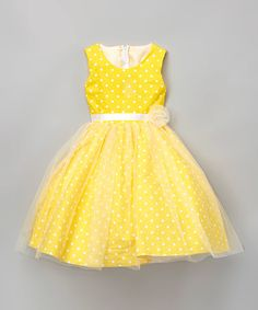 Another great find on #zulily! Yellow Polka Dot A-Line Dress - Infant, Toddler & Girls #zulilyfinds