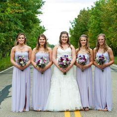 @tashlarkin's bridesmaids in a pastel lilac strapless lace and mesh David's Bridal bridesmaid dress!