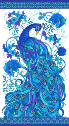 "Mosaic Plume - Tiffany Peacock - White - 24"" x 44"" PANEL"