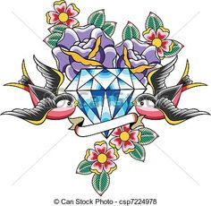 Vector - bird and diamond flower tattoo - stock illustration, royalty free illustrations, stock clip art icon, stock clipart icons, logo, line art, EPS picture, pictures, graphic, graphics, drawing, drawings, vector image, artwork, EPS vector art